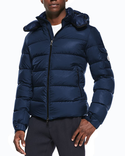 Moncler Himalaya Puffer Jacket with Hood, Blue