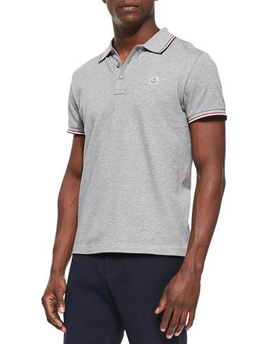 Moncler Pique Tipped Logo Polo, Gray