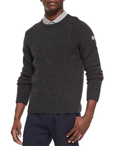 Wool-Knit Crewneck Sweater, Dark Gray