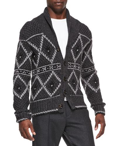 Nordic Heavy-Knit Cardigan, Gray