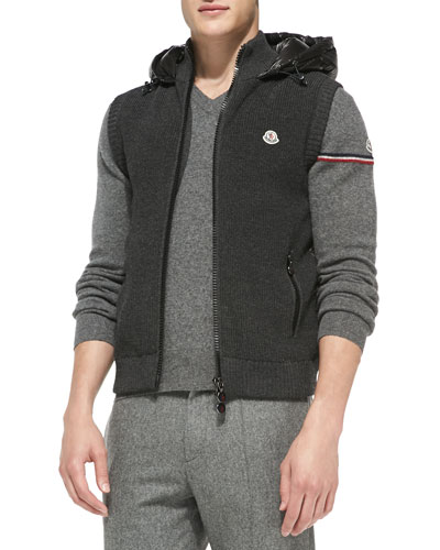 Knit Vest with Nylon Hood, Gray