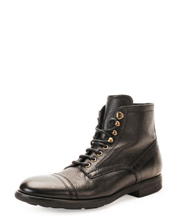 Dolce & Gabbana Milano Lace-Up Leather Boot