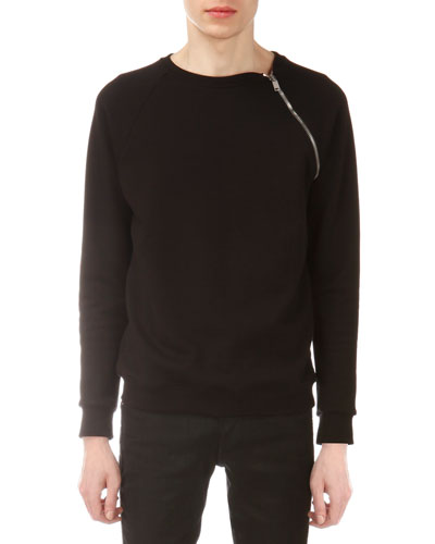 Zip-Shoulder Crewneck Sweatshirt