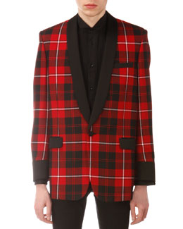 Saint Laurent Plaid Shawl-Collar Evening Jacket