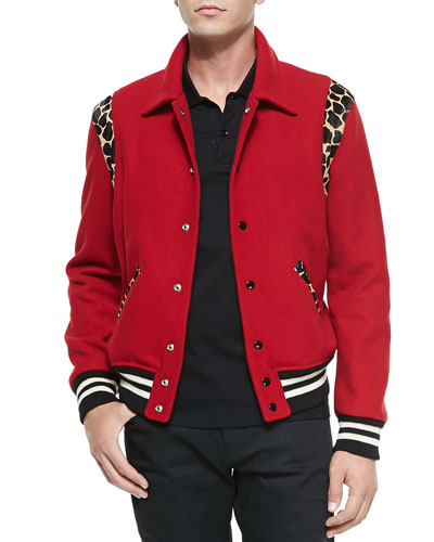 Saint Laurent Teddy Bomber Jacket W/ Leopard Trim