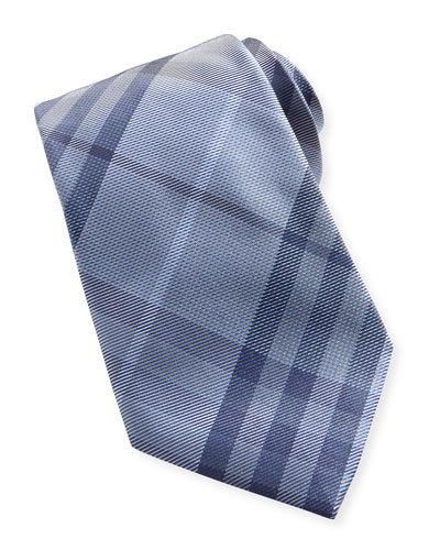 Check Textured Silk Tie, Pale Blue