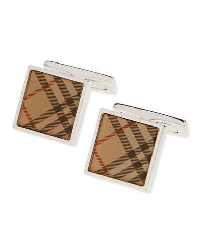 Square Check Cuff Links, Beige