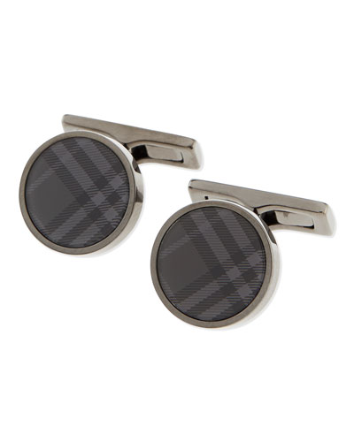 Round Check Cuff Links, Charcoal
