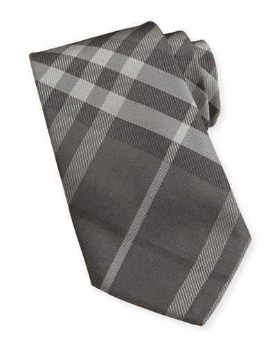Basic Check Silk Tie, Charcoal