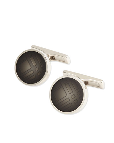 Faded Check Cuff Links, Stone (Gray)