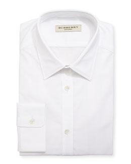 Burberry Tonal-Check Jacquard Dress Shirt, White