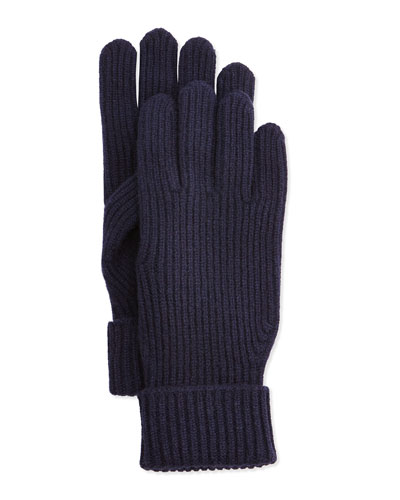 Men's Cashmere/Wool Rib-Knit Gloves, Navy