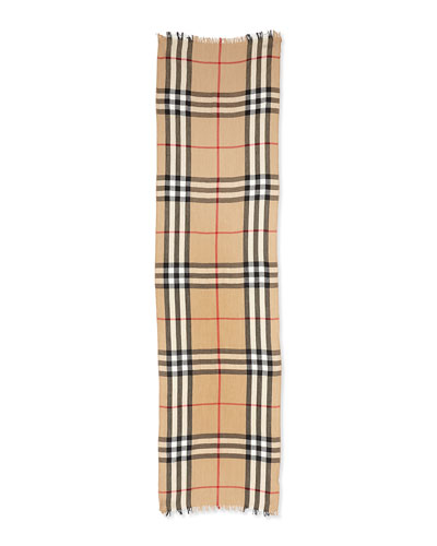 Burberry Men's Check Crinkled Scarf, Camel