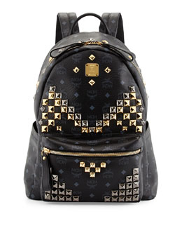 MCM Stark Men's Studded Medium Backpack, Black