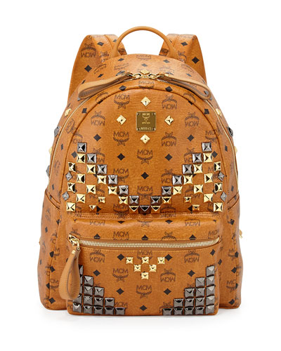 MCM Stark Visetos Men's Medium Studded Backpack, Cognac