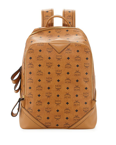 MCM Men's Monogram Large Double-Zip Backpack, Cognac