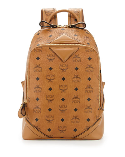 MCM Men's Monogram Double-Zip Backpack, Cognac