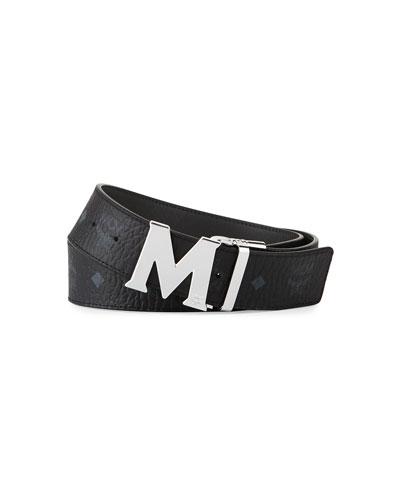 MCM M-Buckle Monogram Belt, Cognac