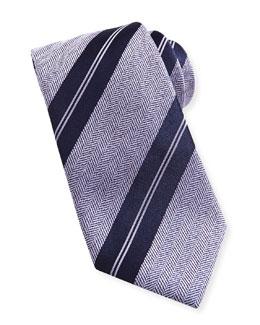 Brioni Striped Herringbone Tie, Purple