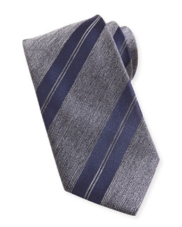 Brioni Striped Herringbone Tie, Charcoal