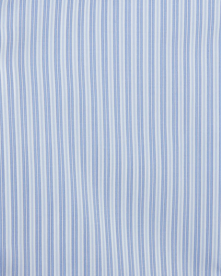 Brioni Track-Stripe Dress Shirt, Blue/White
