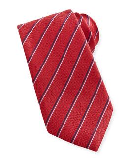 Brioni Stripe Silk Tie, Blue