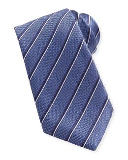 Brioni Striped Silk Tie, Blue