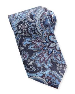 Brioni Large-Paisley Silk Tie, Blue