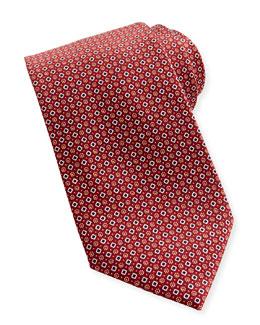 Brioni Diamond-Dot Silk Tie, Red