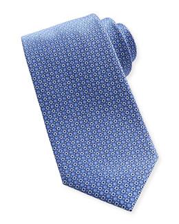 Brioni Diamond-Dot Silk Tie, Blue