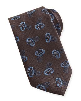 Brioni Paisley Textured Silk Tie, Brown/Blue