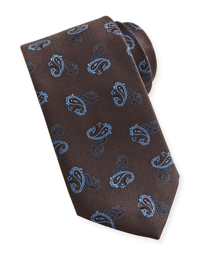 Paisley Textured Silk Tie, Brown/Blue