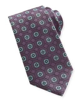 Brioni Geo-Medallion Silk Tie, Purple