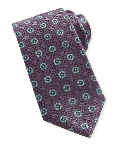 Geo-Medallion Silk Tie, Purple