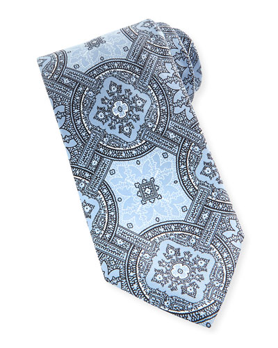 Large-Medallion Silk Tie, Light Blue