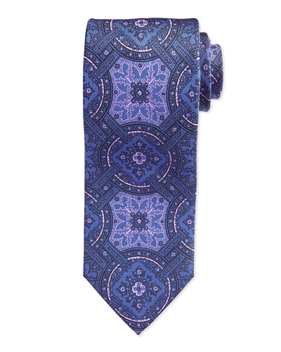 Large-Medallion Tie, Purple/Pink