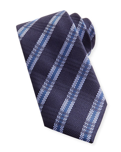 Striped Plaid Woven Tie, Navy