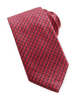 Brioni Y-Pattern Woven Tie, Navy/Red