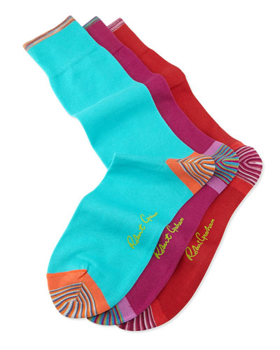 Barilla 3-Pack Solid Socks, Red/Cardinal/Turquoise