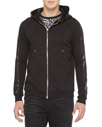 Saint Laurent Zip Hoodie with Leather Hood, Black