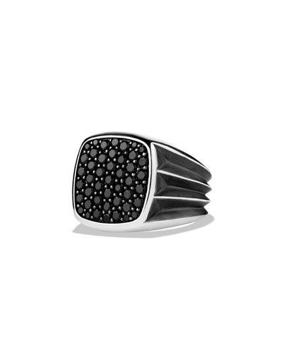 Sterling Silver Ring with Black Diamonds