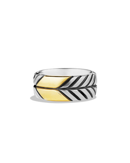 David Yurman Modern Chevron Band Ring with Gold