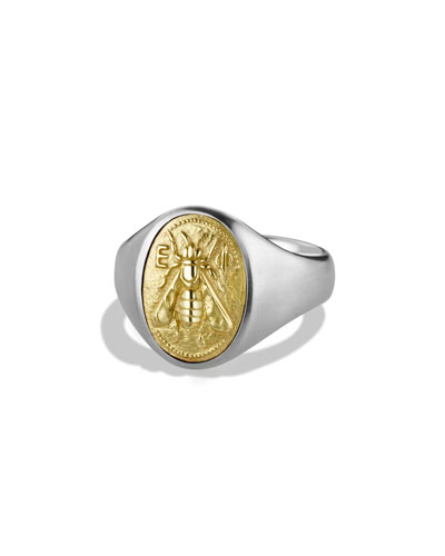 Petrvs Bee Signet Ring with Gold