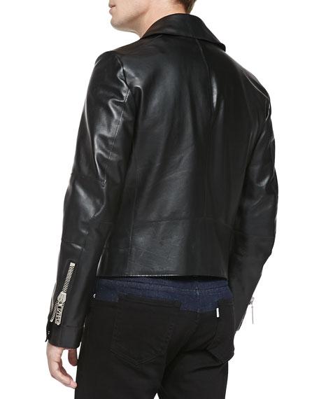 K-Zip Leather Biker Jacket, Black