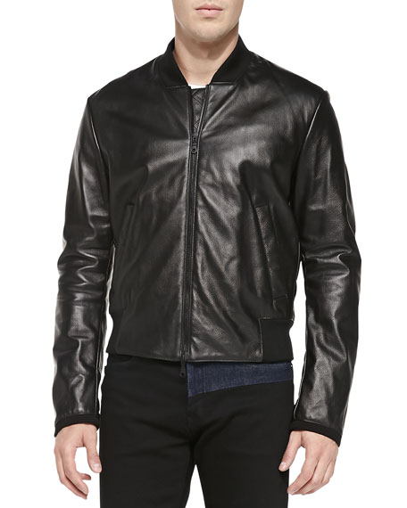 Monster-Logo Leather Bomber Jacket, Black