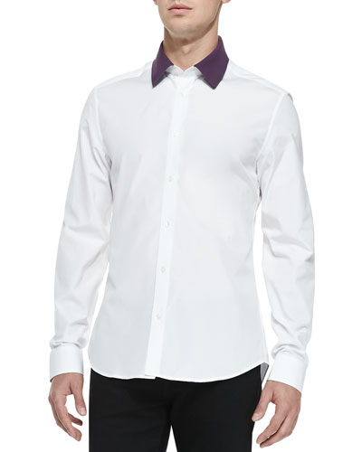 Kenzo Button-Down Shirt with Polo Collar, White
