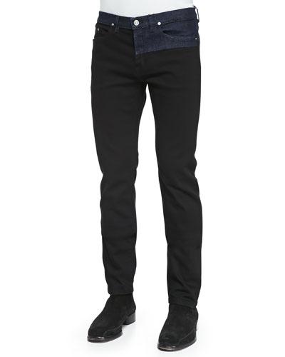 Kenzo Bicolor Denim Jeans, Black