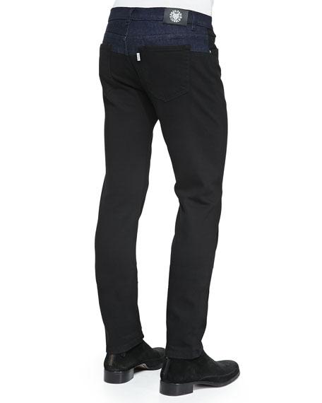 Bicolor Denim Jeans, Black