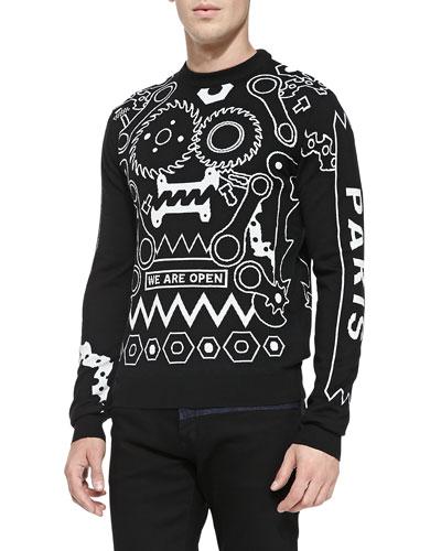 Kenzo Tools Intarsia-Knit Crewneck Sweater, Black/White