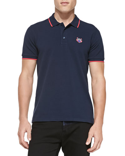 Kenzo Tipped Tiger Polo, Navy/Pink